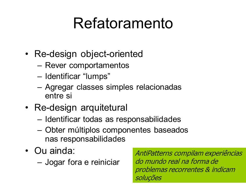 Refatoramento Re-design object-oriented Re-design arquitetural