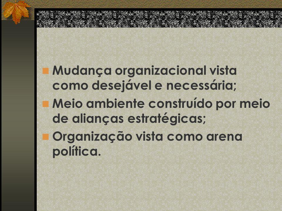 Mudança organizacional vista como desejável e necessária;