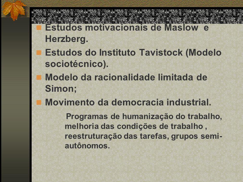 Estudos motivacionais de Maslow e Herzberg.