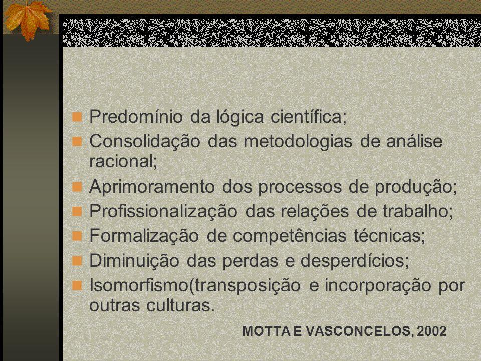 Predomínio da lógica científica;