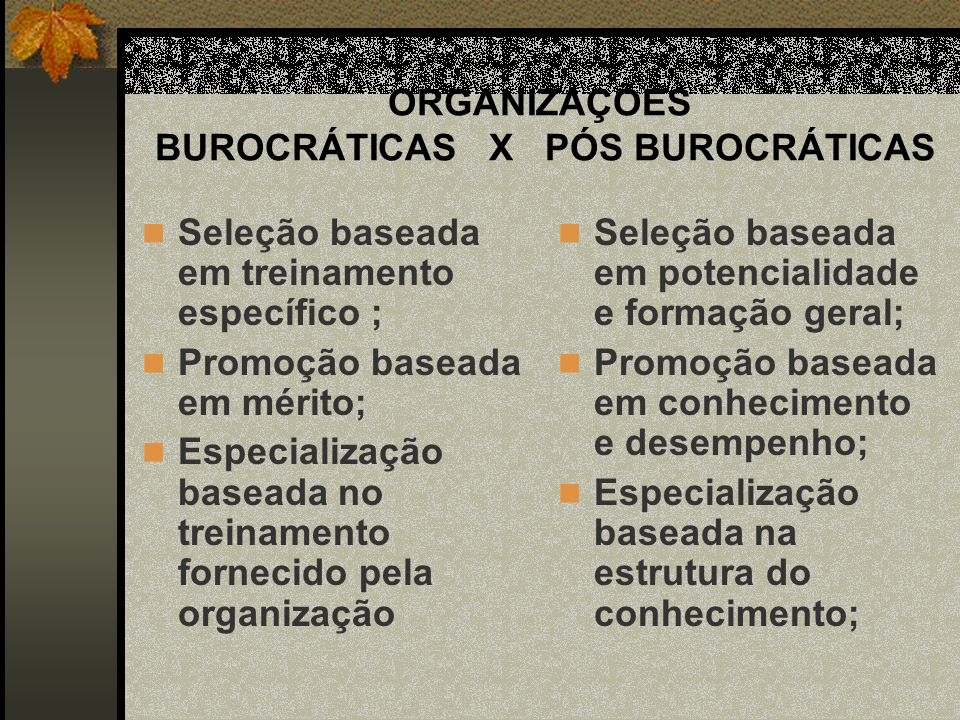 ORGANIZAÇÕES BUROCRÁTICAS X PÓS BUROCRÁTICAS