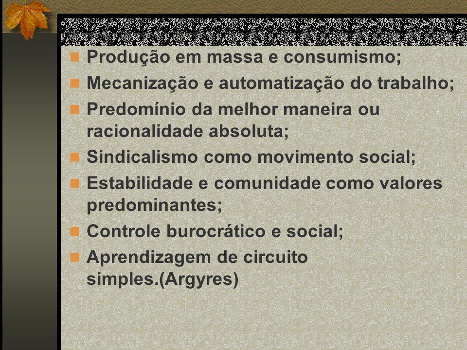 Produção em massa e consumismo;