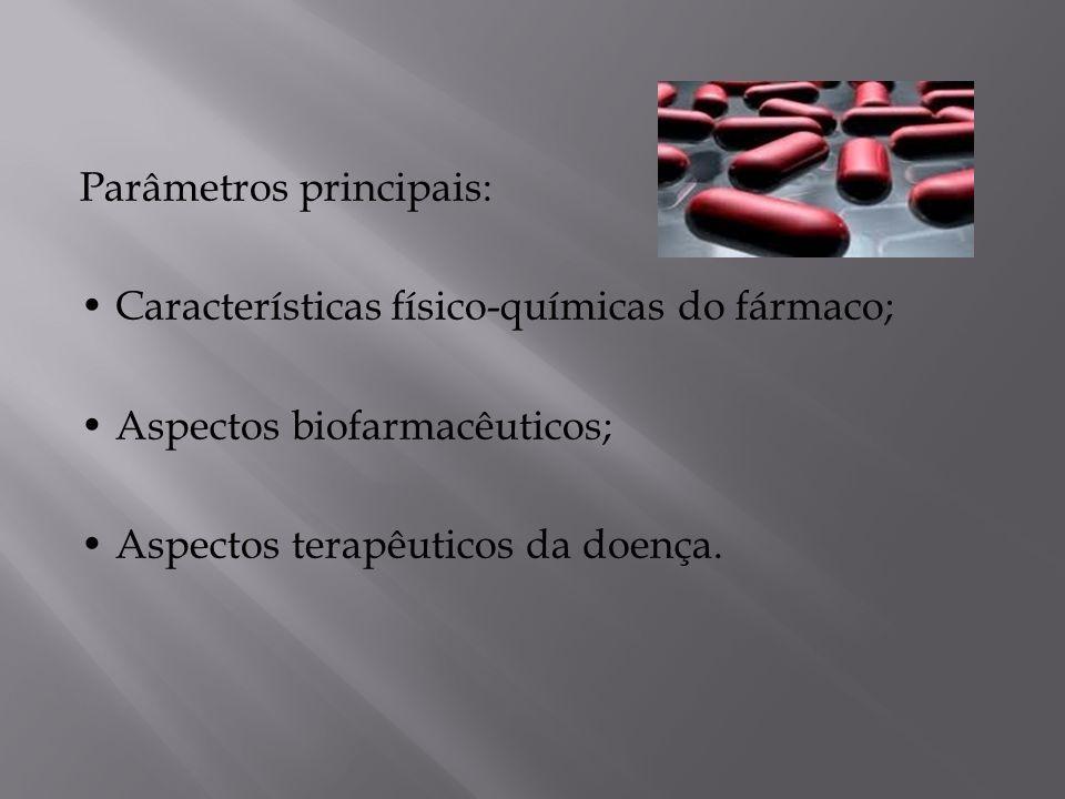 Parâmetros principais: • Características físico-químicas do fármaco; • Aspectos biofarmacêuticos; • Aspectos terapêuticos da doença.
