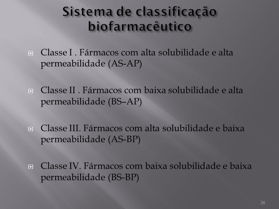 Sistema de classificação biofarmacêutico