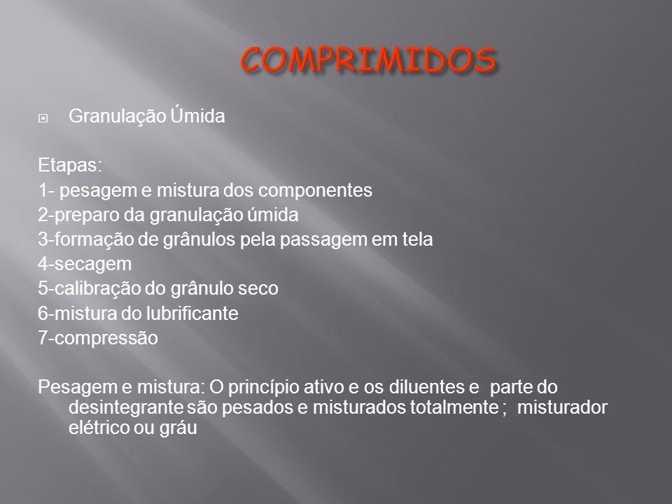 COMPRIMIDOS Granulação Úmida Etapas: