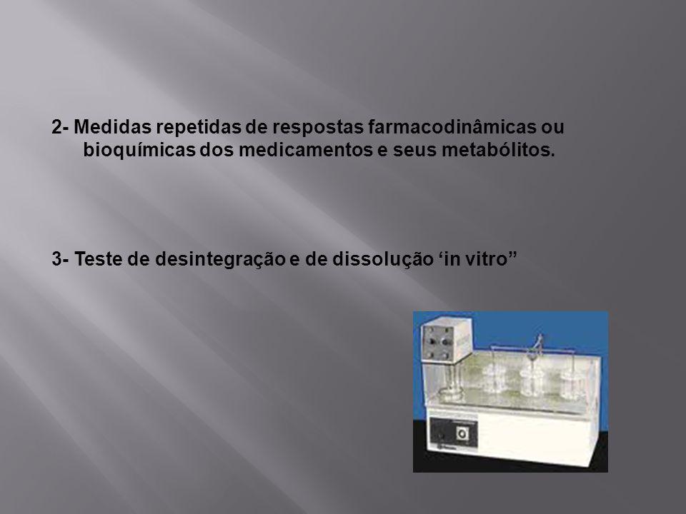 2- Medidas repetidas de respostas farmacodinâmicas ou bioquímicas dos medicamentos e seus metabólitos.