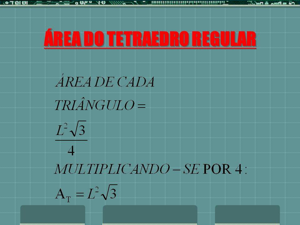 ÁREA DO TETRAEDRO REGULAR