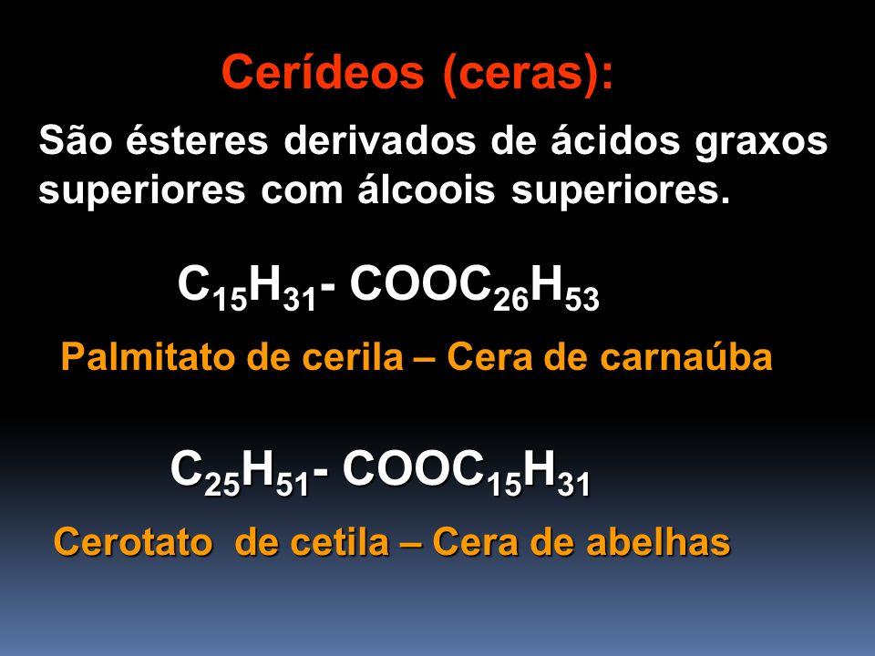 Cerídeos (ceras): C15H31- COOC26H53 C25H51- COOC15H31