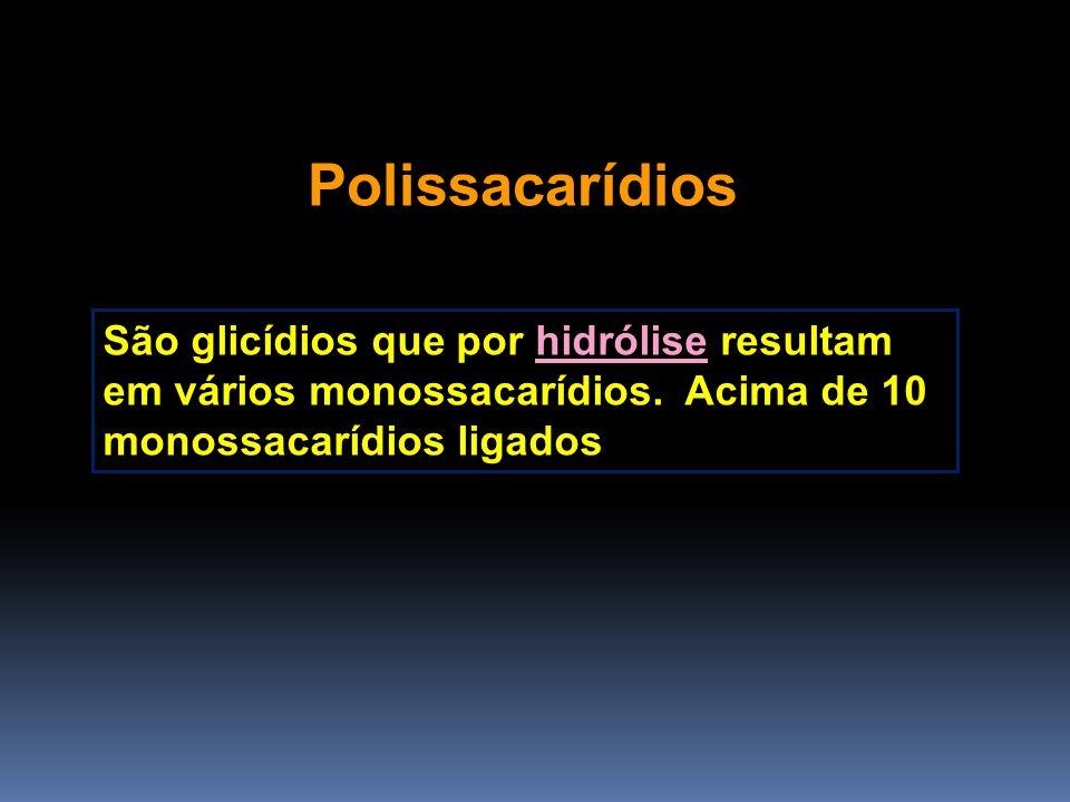 PolissacarídiosSão glicídios que por hidrólise resultam em vários monossacarídios.