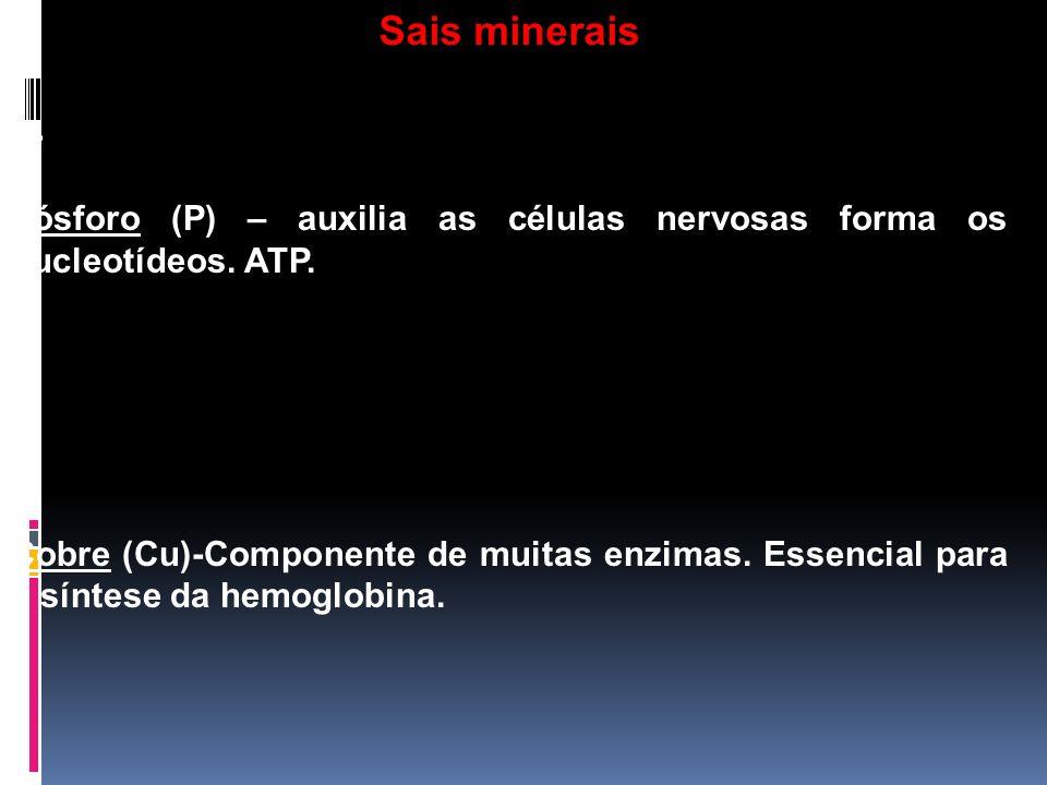Sais minerais h- Fósforo (P) – auxilia as células nervosas forma os nucleotídeos. ATP. i-
