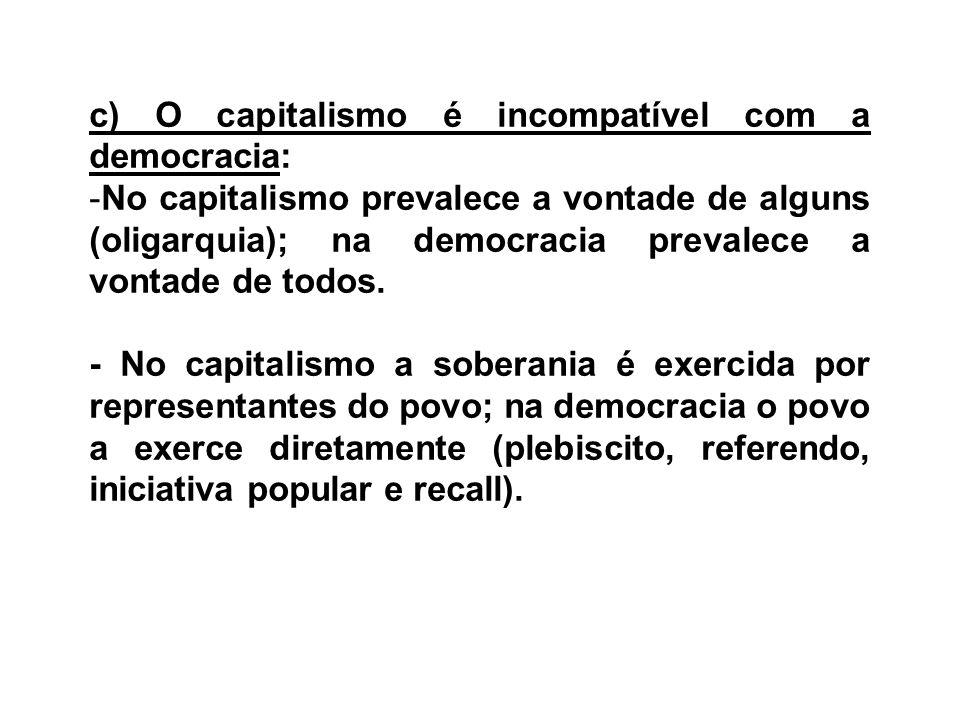c) O capitalismo é incompatível com a democracia: