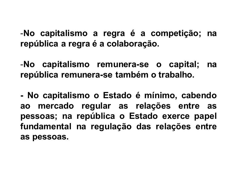No capitalismo a regra é a competição; na república a regra é a colaboração.