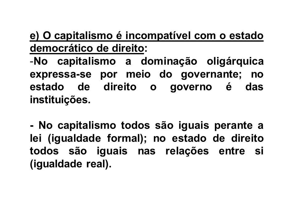 e) O capitalismo é incompatível com o estado democrático de direito: