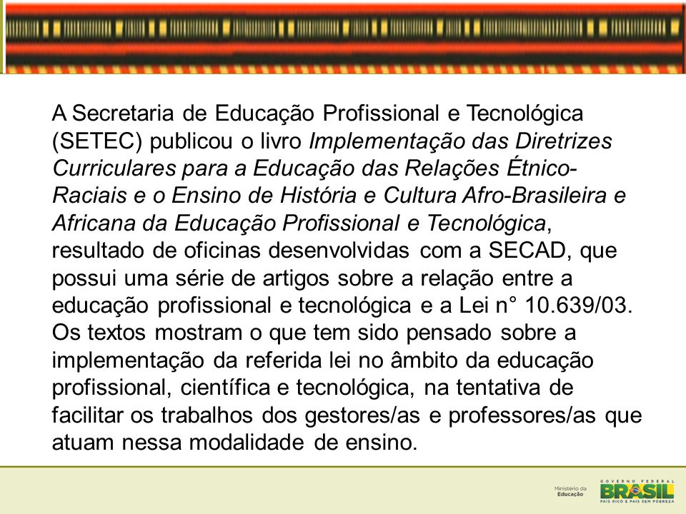 A Secretaria de Educação Profissional e Tecnológica (SETEC) publicou o livro Implementação das Diretrizes Curriculares para a Educação das Relações Étnico-Raciais e o Ensino de História e Cultura Afro-Brasileira e Africana da Educação Profissional e Tecnológica, resultado de oficinas desenvolvidas com a SECAD, que possui uma série de artigos sobre a relação entre a educação profissional e tecnológica e a Lei n° 10.639/03.