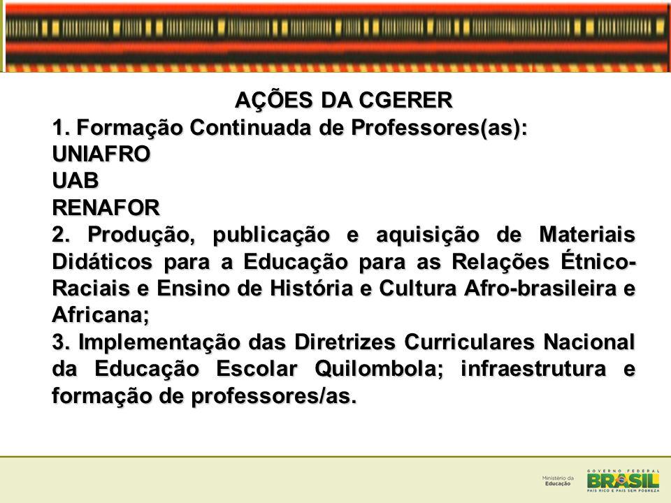 AÇÕES DA CGERER 1. Formação Continuada de Professores(as): UNIAFRO. UAB. RENAFOR.