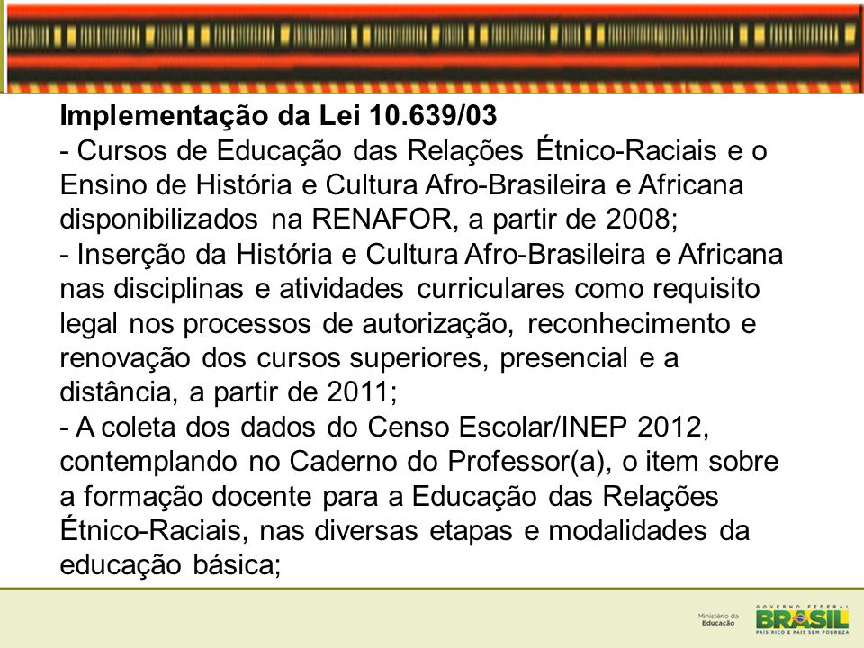 Implementação da Lei 10.639/03