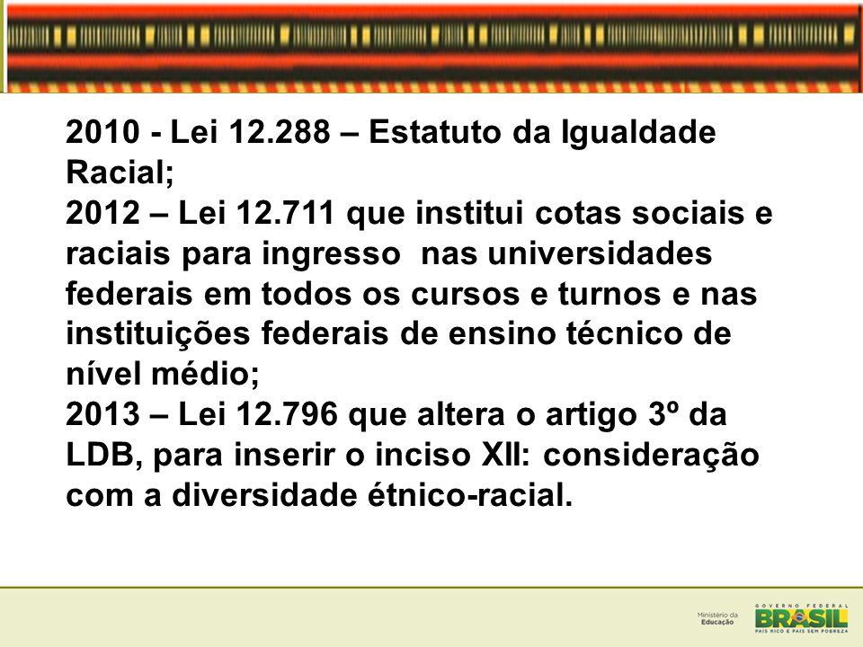 2010 - Lei 12.288 – Estatuto da Igualdade Racial;