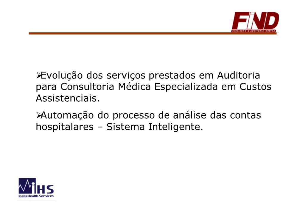 Evolução dos serviços prestados em Auditoria para Consultoria Médica Especializada em Custos Assistenciais.