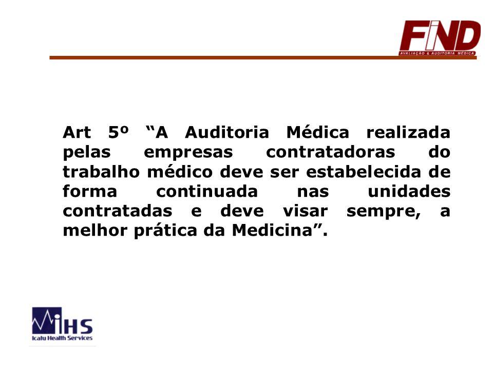 Art 5º A Auditoria Médica realizada pelas empresas contratadoras do trabalho médico deve ser estabelecida de forma continuada nas unidades contratadas e deve visar sempre, a melhor prática da Medicina .