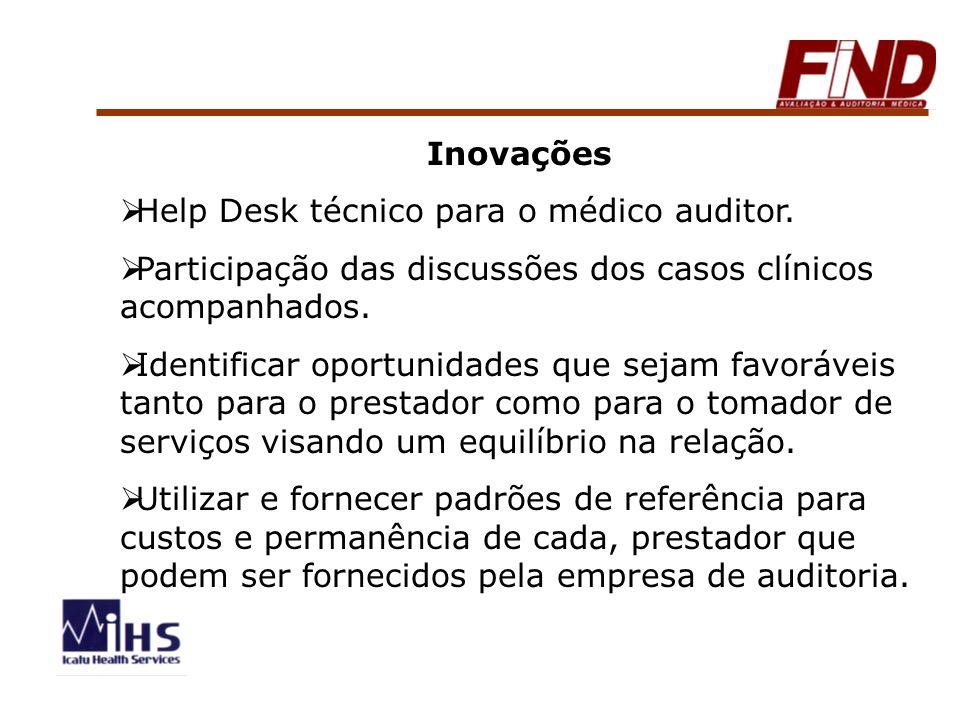 Inovações Help Desk técnico para o médico auditor. Participação das discussões dos casos clínicos acompanhados.