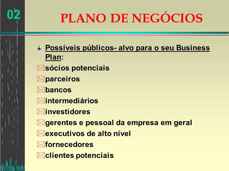 PLANO DE NEGÓCIOS Possíveis públicos- alvo para o seu Business Plan: