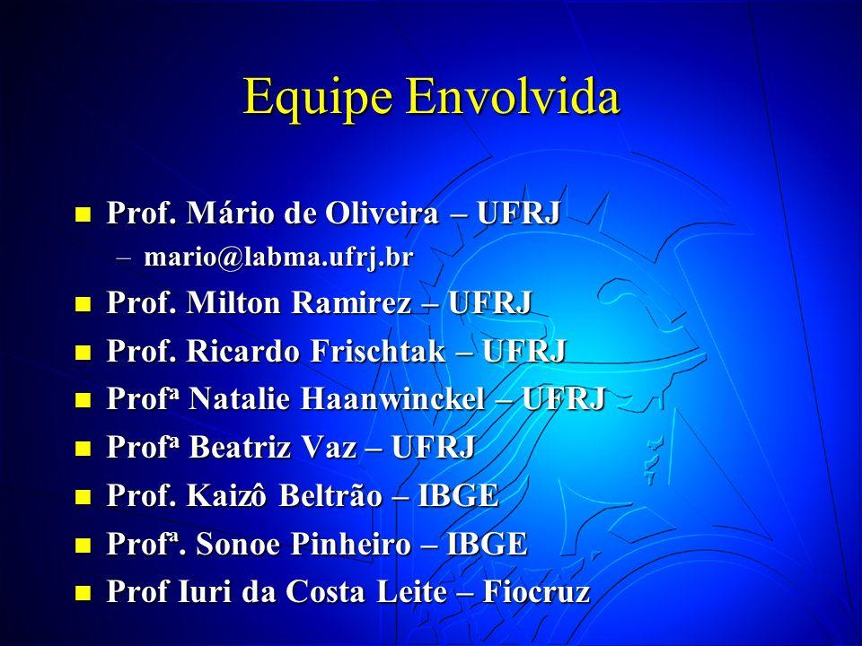 Equipe Envolvida Prof. Mário de Oliveira – UFRJ