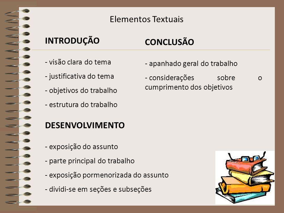 Elementos Textuais INTRODUÇÃO CONCLUSÃO DESENVOLVIMENTO