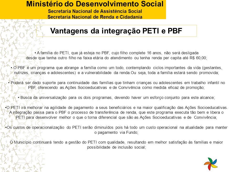 Vantagens da integração PETI e PBF