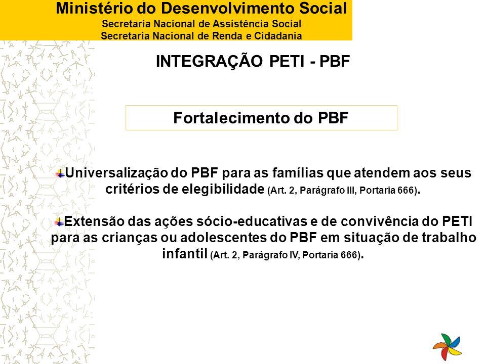 INTEGRAÇÃO PETI - PBF Fortalecimento do PBF
