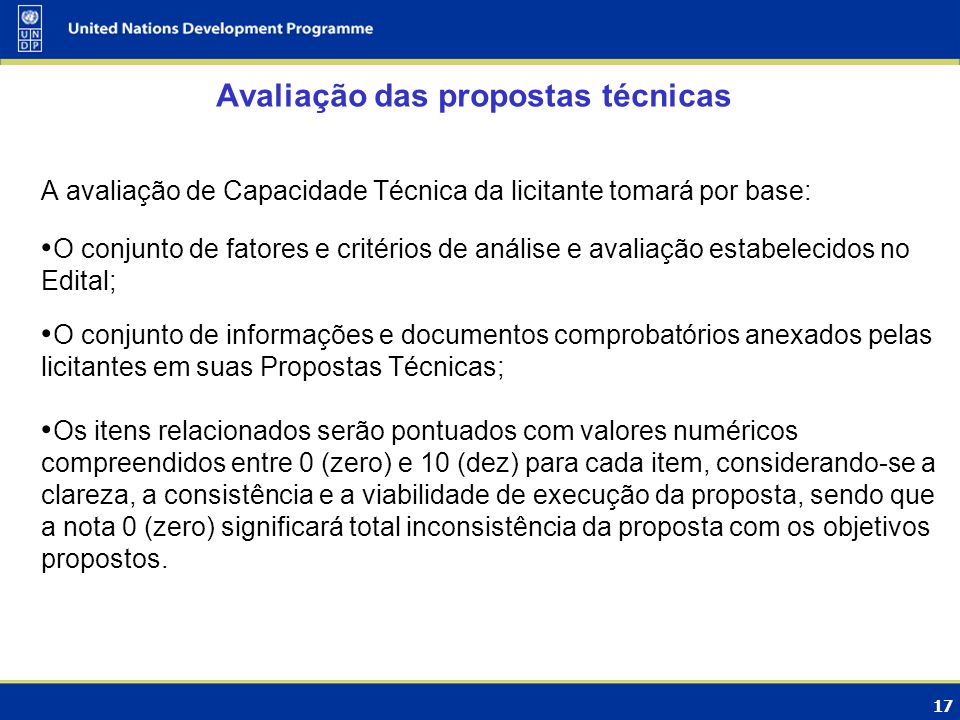 Avaliação das propostas técnicas