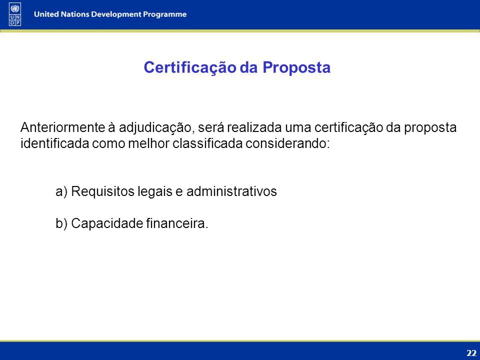 Certificação da Proposta