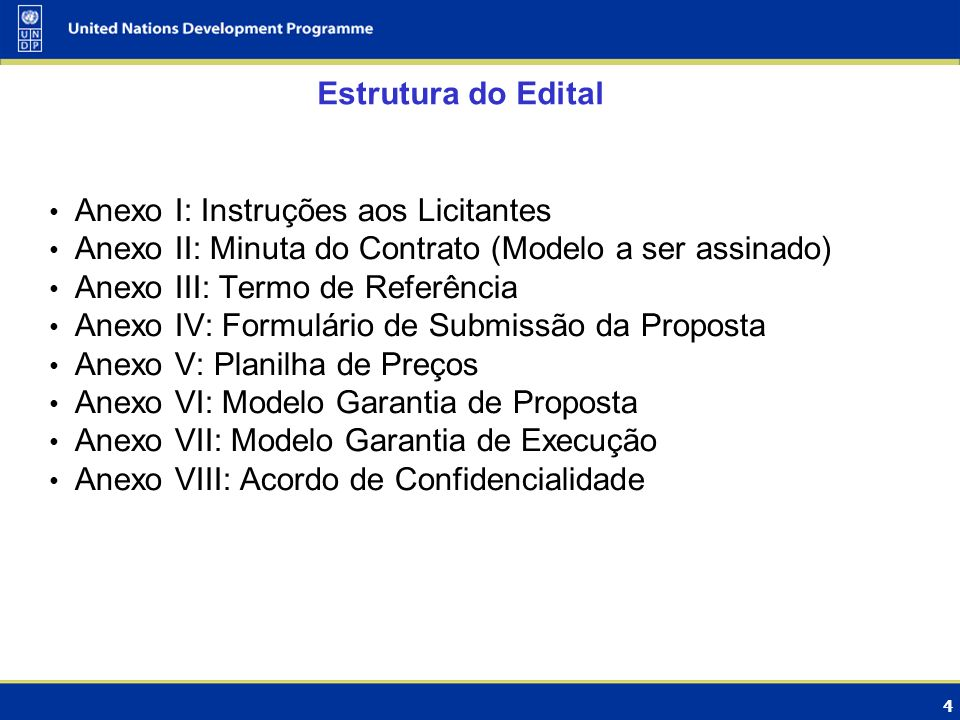 Estrutura do Edital Anexo I: Instruções aos Licitantes. Anexo II: Minuta do Contrato (Modelo a ser assinado)