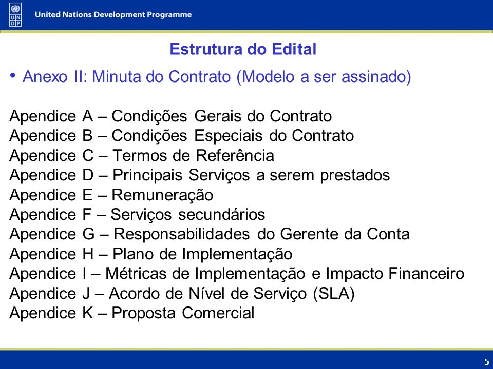 Estrutura do Edital Anexo II: Minuta do Contrato (Modelo a ser assinado) Apendice A – Condições Gerais do Contrato.