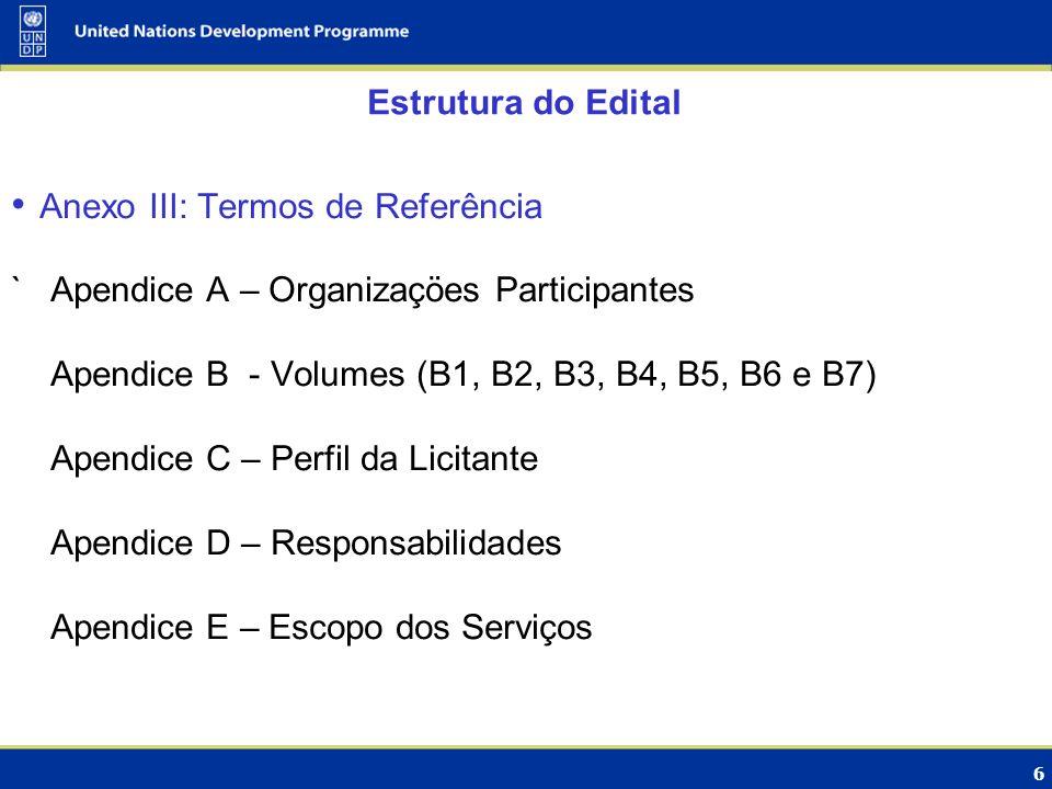 Estrutura do Edital Anexo III: Termos de Referência. ` Apendice A – Organizaçöes Participantes. Apendice B - Volumes (B1, B2, B3, B4, B5, B6 e B7)
