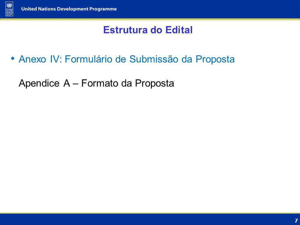 Estrutura do Edital Anexo IV: Formulário de Submissão da Proposta Apendice A – Formato da Proposta