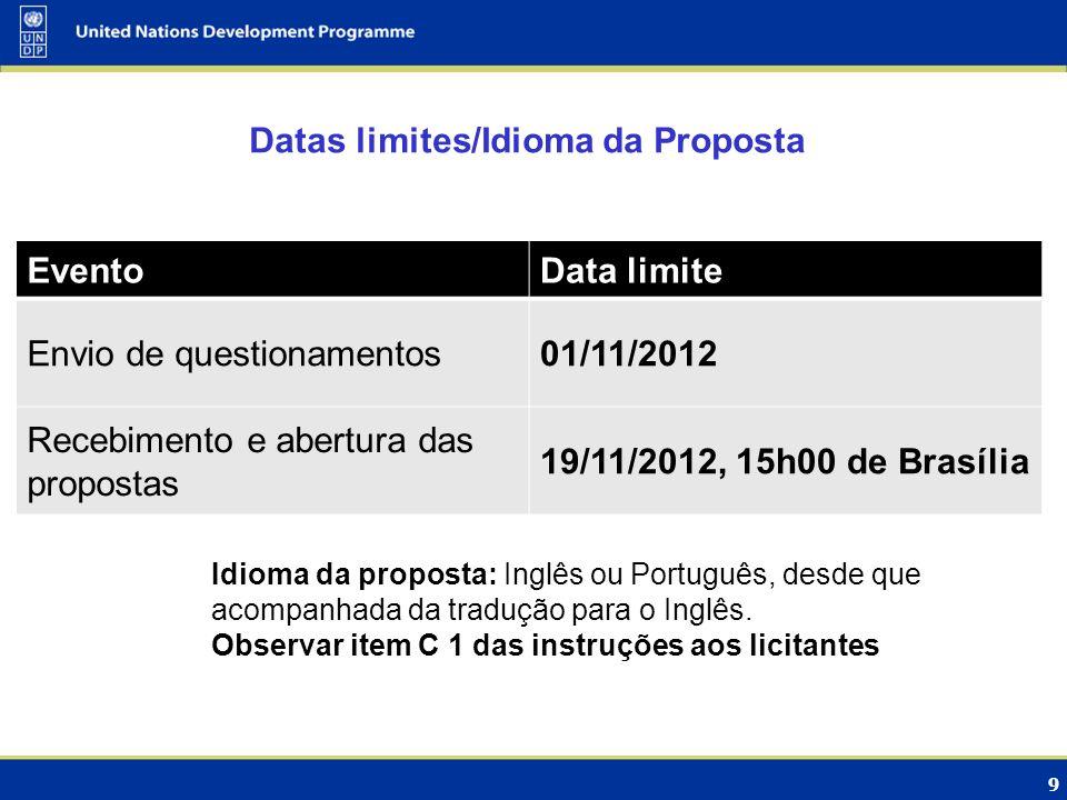 Datas limites/Idioma da Proposta