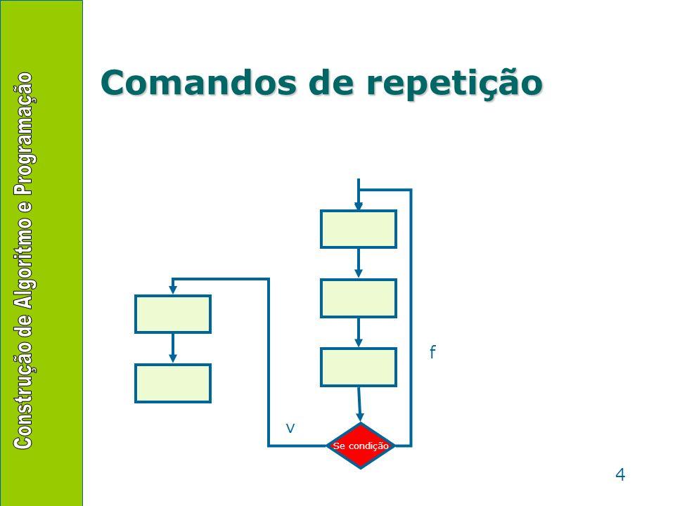 Comandos de repetição f v Se condição