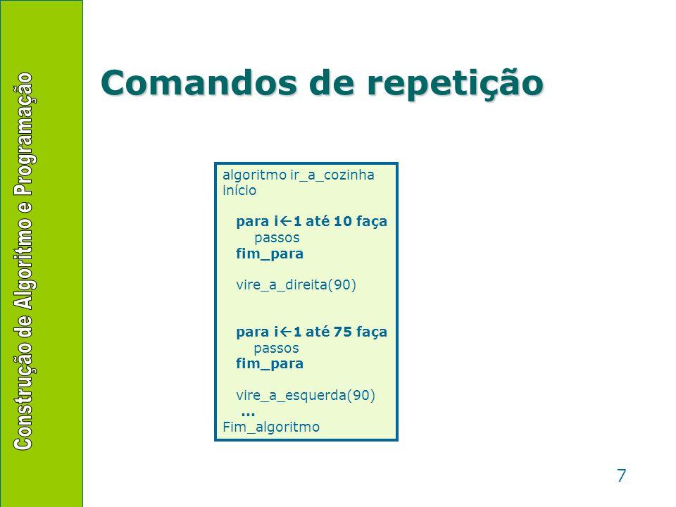 Comandos de repetição algoritmo ir_a_cozinha início