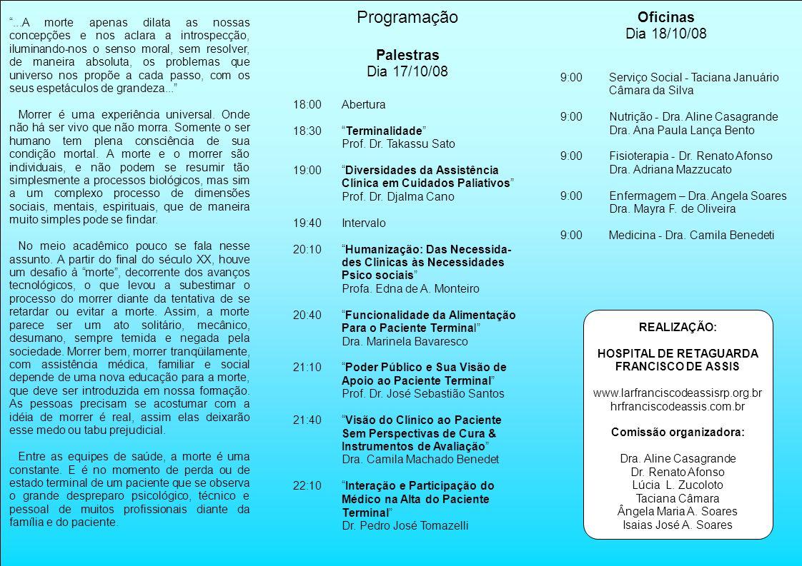 HOSPITAL DE RETAGUARDA Comissão organizadora: