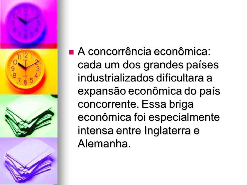 A concorrência econômica: cada um dos grandes países industrializados dificultara a expansão econômica do país concorrente.