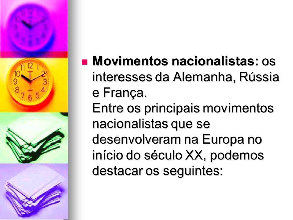 Movimentos nacionalistas: os interesses da Alemanha, Rússia e França