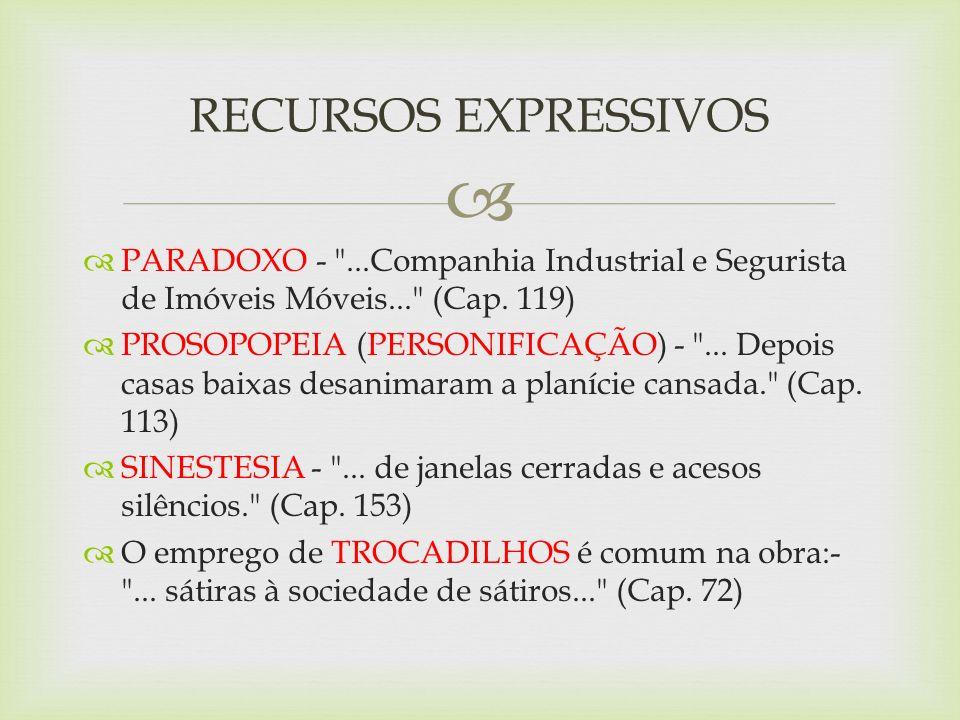 RECURSOS EXPRESSIVOSPARADOXO - ...Companhia Industrial e Segurista de Imóveis Móveis... (Cap. 119)