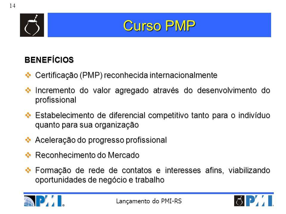 Curso PMP BENEFÍCIOS Certificação (PMP) reconhecida internacionalmente