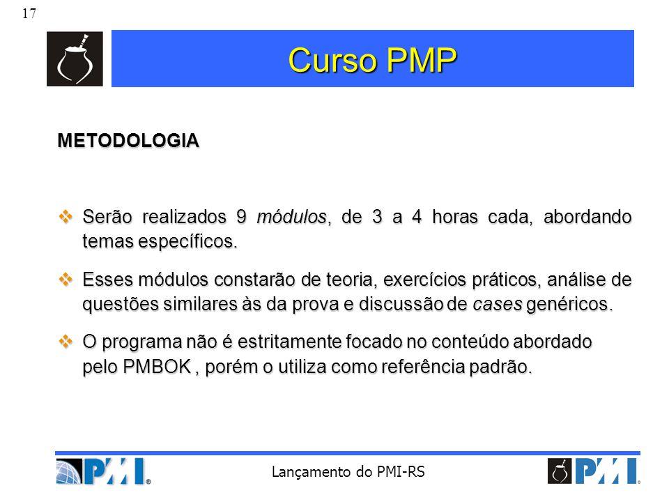 Curso PMP METODOLOGIA. Serão realizados 9 módulos, de 3 a 4 horas cada, abordando temas específicos.