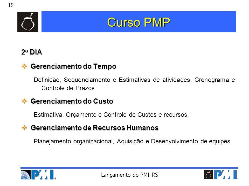 Curso PMP 2o DIA Gerenciamento do Tempo Gerenciamento do Custo