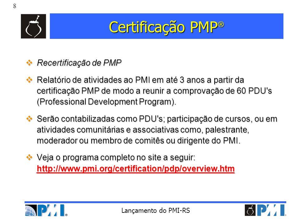 Certificação PMP® Recertificação de PMP