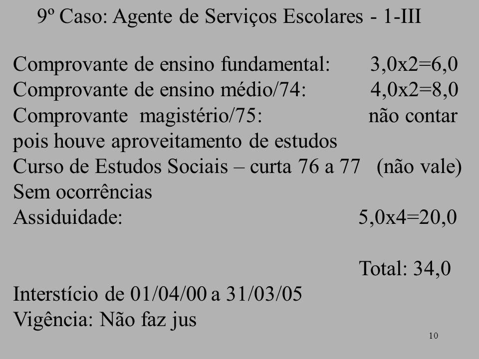 9º Caso: Agente de Serviços Escolares - 1-III