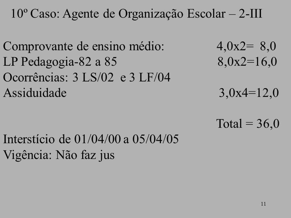 10º Caso: Agente de Organização Escolar – 2-III