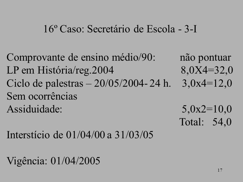 16º Caso: Secretário de Escola - 3-I