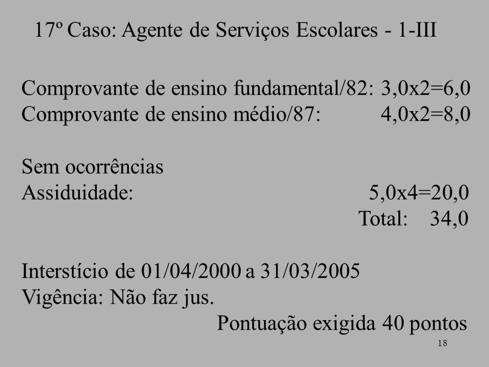 17º Caso: Agente de Serviços Escolares - 1-III